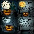 Set of Halloween illustration with Jack O Lantern — Stock Vector