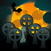 Illustration of undead rising from the grave — Stock Vector