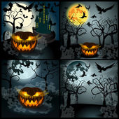 Set of Halloween illustration with Jack O Lantern — Stok Vektör