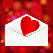 Beautiful Valentine's Day heart in mail on glittering background — Stok Vektör