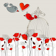 Cute birds in love illustration - Stock Vector
