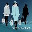 Elegant winter fashion women — Stock Vector