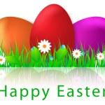 Beautiful Easter eggs greeting card — Stock Vector