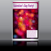 Valentine's Day flyer with glittering rainbow lights — Stock Vector