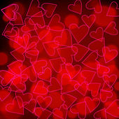 Illustration of glittering Valentine's Day hearts made of light — Stock vektor