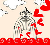 Romantic illustration of hearts flying out of a cage — Stock Vector
