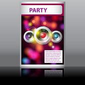 Music flyer with glittering rainbow lights — Stock Vector