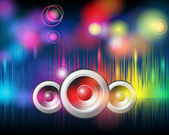 Music background with glittering rainbow lights — Stock Vector