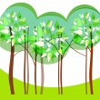 Beautiful spring floral trees illustration - Imagen vectorial