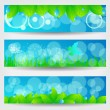 Set of beautiful green spring banners — Stock Vector