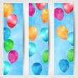 Set of three web banners with balloons flying in the air — Stock Vector #24869607