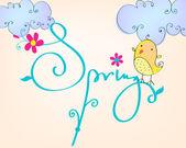 иллюстрация птица симпатичные весна — Cтоковый вектор