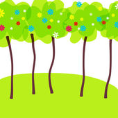Beautiful spring forrest — Stock Vector