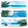 Stock Vector: Set of summer tropical web banners