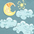 Cute paper Moon and clouds — Stock Vector
