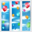 Set of three web banners with balloons flying in the air — Stock Vector