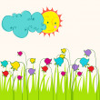 Cute spring meadow illustration — Stock Vector