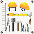 Stock Vector: Large set of different construction tools