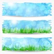Stock Vector: Beautiful soft bokeh nature banner set
