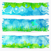 Set of beautiful green nature banners — ストックベクタ