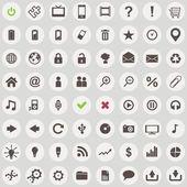 Amplio conjunto de iconos de estilo retro web — Vector de stock