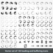 Set of 130 loading and buffering icons — Stockvektor