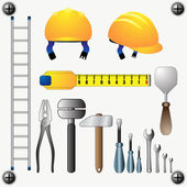 Large set of different construction tools — Stock Vector