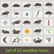Large set of retro style weather icons — Stock Vector