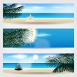 Set of summer tropical web banners — Stock Vector