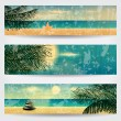 Set of retro summer web banners — Stock Vector