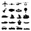 Stock Vector: Large set of transportation icons