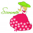 Cute summer girl — Stock Vector