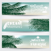 Set of three retro summer web banners — Stock Vector
