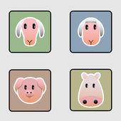 Iconos animales de granja lindo — Vector de stock