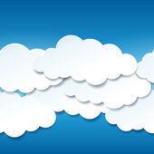 Beautiful seamless blue sky with paper clouds — Stock Vector