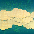 Beautiful retro seamless blue sky with paper clouds — Stockvectorbeeld
