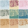 Set of nine vintage floral backgrounds — Stock Vector