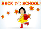 Cute back to school illustration of girl — Stock Vector