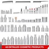 Groot aantal witte, lege cosmetische productpakketten — Stockvector