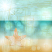 Retro beach illustration with starfish — Stock Vector