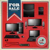 élégant vintage meilleures offre de prix pour l'ensemble de l'électronique moderne — Vecteur