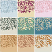 Set of nine vintage floral backgrounds — Vecteur