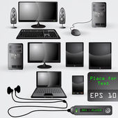Large set of realistic electronic gadgets — Vector de stock