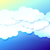 Beautiful blue sky with paper clouds — Stock Vector