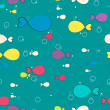Cute seamless underwater pattern with fishes illustration — 图库矢量图片