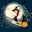 Cute Halloween witch with black cat flying in front of a full Mo — Stock Vector #29493341