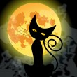 Cute Halloween black cat and full Moon — Stock vektor