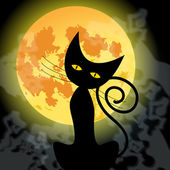 Cute Halloween black cat and full Moon — Stockvektor