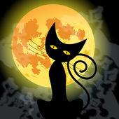 Joli chat noir d'halloween et la pleine lune — Vecteur