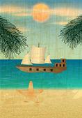 Retro beach illustration — Stock Vector